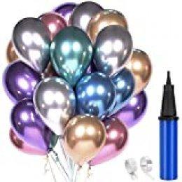 """60 Piezas Globos Decoracion Cumpleaños, 12"""" Globos de Colores Metalizados de Látex para Bodas, Fiestas de Cumpleaños Bodas Aniversario Graduacion Fiesta"""