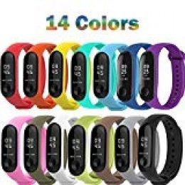Compatible con Xiaomi Mi Smart Band 4, 14 Piezas Pulsera para Xiaomi Mi Band 3 / Mi Smart Band 4 Pulseras Reloj Silicona Banda Reemplazo - 14 Colores Compuesto