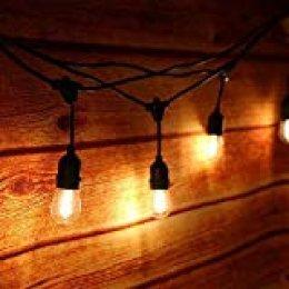 Guirnalda Luces Exterior,Tomshine Luz de Cadena 14.6M/48FT IP65 Impermeable,15pcs LED Filamento Bombilla Guirnalda Luminosa para Fiesta Boda Jardín Decoración(blanco cálido)