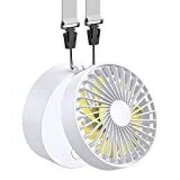 Funme EasyAcc Mini Ventilador de Suspensión Batería Recargable 2600mAh USB Plegable con 3 Ajustable 3-15H Horas de Trabajo Personal Ventilador Pequeño Viajes Camping Al Aire Libre-Blanco Amarillo