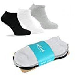 SoftSocks SNEAKER LOW CUT Calcetines para mujeres, hombres y adolescentes, varios tamaños, 6 pares: ¡Negro, blanco o mixto! Calidad de algodón! (2x negro, 2x gris claro, 2x blanco, 43-46)