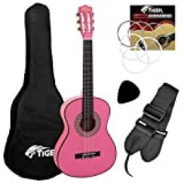Tiger Music CLG4-PK - Guitarra clásica (tamaño 3/4)