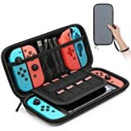 HEYSTOP Funda para Nintendo Switch, Funda de Viaje para Nintendo Switch con Más Espacio de Almacenamiento para 8 Juegos, Funda para Nintendo Switch Console & Accesorios (Gris)