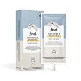 FIND - Mascarilla limpiadora y purificadora con arcilla blanca, 6 envases de 15ml