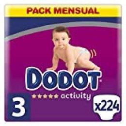 Dodot Activity pañales talla 3, 224 pañales, 6-10 kg, pañales con ajuste más resistente