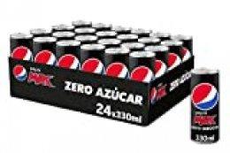 Pepsi MAX, Refresco de Cola Zero Azúcar, lata 330 ml 24 Unidades