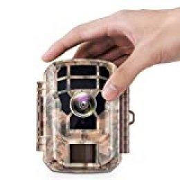 Campark Mini cámara de caza con detector de movimiento, visión nocturna, cámara de caza, cámara de caza, con 120°, 16 MP, 1080P, HD, LCD IR LED marrón