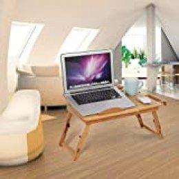 Yosoo - Mesa de ordenador para cama, PC, bandeja para portátil, plegable, de bambú, 30 x 50 x 20 cm (flores doble)