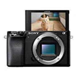 Sony Alpha 6100 - Cámara Evil de 24.2 MP (Sensor APS-C CMOS Exmor R, Montura E, procesador Bionz X, 425 Puntos de AF a 0.02 s, Eye AF, grabación 4K, Pantalla táctil) - Solo Cuerpo
