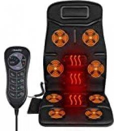 Naipo Respaldo de Masaje Cojín Asiento Masajeador Portátil para Toda la Espalda y Cuello con 8 Motores de Vibración 2 Pads de Calor en Coche Casa Oficina