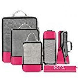 Eono Essentials - Organizadores de viaje de compresión expandibles con bolsas para calzado (fucsia, juego de 6)