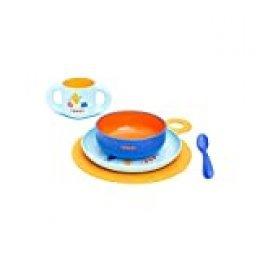 Suavinex, Set vajilla aprendizaje Booo (Taza, Plato, Bol, Cuchara y Mantel). Vajilla bebés +6 meses, apto para microondas y lavavajillas, Azul
