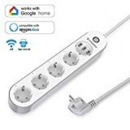 LHMZNIY Regleta Inteligente WiFi con 4 Puertos CA 3 Smart Power Strip Funciona con Alexa Google Assistant y App Control Remoto
