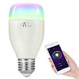 Bombilla Wifi, ACCEWIT Bombilla LED inteligente RGB Multicolor 7W E27 Control de Voz, 650LM Smart Bombilla Funciona con Alexa Echo Google, para Casa Decoración Bar Fiesta KTV-1 Pack
