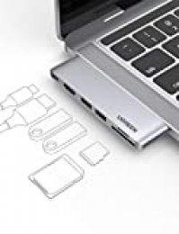 UGREEN HUB USB C 6 En 1, Adaptador Macbook Pro 13'' a 2 Puertos USB 3.0, 4K HDMI, Lector de Tarjeta SD TF, USB C Thunderbolt 3 100W PD Carga para Macbook Pro 2020 2019 2018 16'' Macbook Air 2020 2019