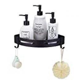 Hoomtaook Estantería de Esquina para Baño Ducha,Autoadhesivo, Aluminio, Acabado Mate, Estantes 1 Piezas Negro