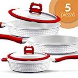 GRIDINLUX. Set de Sartenes 5 Piezas. Aluminio Fundido, Titanio, Cerámica, Sartenes y Tapas, Material Calidad Premium, Resistentes, Aptas para todo tipo de Cocinas