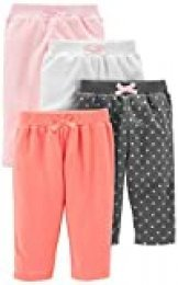 Simple Joys by Carter's paquete de 4 pantalones de forro polar para niñas ,Pink/Navy Dot/Ivory ,US NB (EU 56-62)