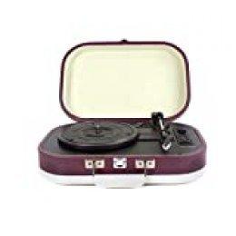 PRIXTON - Tocadiscos de Vinilos Vintage y Reproductor mp3 de Musica Mediante Bluetooth y USB, 2 Altavoces Incorporados, Diseño de Maleta, Color Morado | VC410