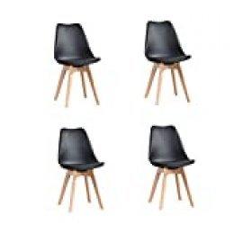 ArtDesign FR Tulip sillas de Comedor Moderno, Juego de 4, Asiento Acolchado Suave, Patas de Madera Maciza de Haya Natural, Respaldo de Forma ergonómica,Negro