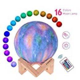 Aibecy-LED Moon Lamp Moon Night Light Impreso en 3D Lámpara lunar grande con soporte Cable USB 16 colores brillantes Control remoto y TouchControl Brillo recargable Luz del hogar ajustable
