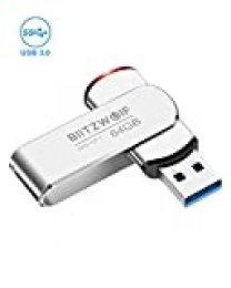 Memoria USB 64GB, BlitzWolf Memoria Flash USB 3.0 Pendrive Aluminio Portátil hasta 70 MB/s con Indicador LED(Plateado)