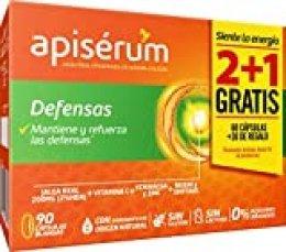 Apisérum Pack Defensas Cápsulas - 3 meses de tratamiento - Mantiene y refuerza las defensas - Multivitamínico con Jalea Real, Vitamina C, Echinacea, Zinc, Reishi y Shitake