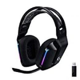 Logitech G Auriculares con Micrófono Inalámbricos Logitech G733 para Gaming con Diadema con Suspensión, Lightspeed, RGB Lightsync, Tecnología de Micrófono Blue VO!CE, Negro