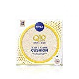 NIVEA Q10 3en1 Cushion Tono Oscuro (1 x 15 ml), perfeccionador facial, cuidado facial hidratante y antiedad con protector facial 15 para una piel uniforme y natural