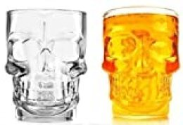 3D Crystal Skull Shape Knuckle Holder Beer Stein Pint Glass (with Handle). Gift Boxed.