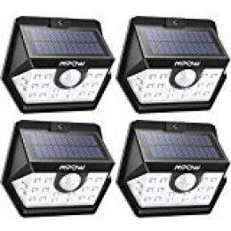 Mpow Luz Solar de Exterior, Lámpara Solar de 3-8M Detección, 270º Gran Angular de Iluminación con 120° Sensor de Movimiento Impermeable 4 Piezas