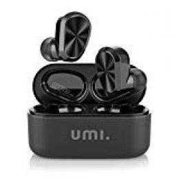Umi. by Amazon - Auriculares de botón inalámbricos (TWS) W9  con Bluetooth 5.0 y certificación IPX7 compatibles con iPhone Samsung Huawei  y estuche con base de carga (negro)
