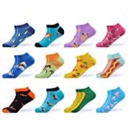 WeciBor Calcetines cortos Mujer Estampados Mujer Ocasionales Calcetines Divertidos Impresos de Algodón de Pintura de Arte Calcetines Verano Tobillo Calcetines de Colores de moda (EUR 37-43, ESB062-04)