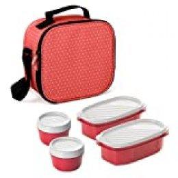 TATAY Urban Food Casual  - Bolsa térmica porta alimentos  con 4 tapers herméticos incluidos, 3 litros de capacidad, Rojo (Red Strawberry), 22.5 x 10 x 22 cm