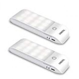 Luz Nocturna, OMERIL Luces LED Armario con Sensor Movimiento (2PCS con 24 LED), Lámpara Nocturna Recargable con 3 Modos, Luz Cálida para Armario, Pasillo, Escalera, Sótano, Cocina, Garaje, Gabinete