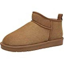 CAMEL CROWN Botas de Nieve Hombre Botines Calientes Zapatos de Invierno Al Aire Libre Fluff Antideslizantes Zapatillas Interiores y Exteriores Marrón 45.5 EU