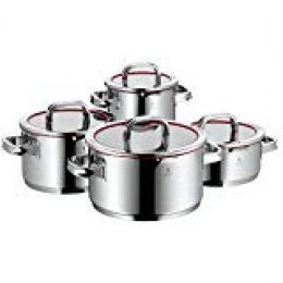 WMF Function 4 - Batería de Cocina, Cromargan Acero Inoxidable, Cacerola de 20 cm (2.5 L), 3 Ollas Altas de 16 cm (1.9 L), 20 cm (3.4 L) y 24 cm (5.7 L), Con Tapa, 4 Piezas