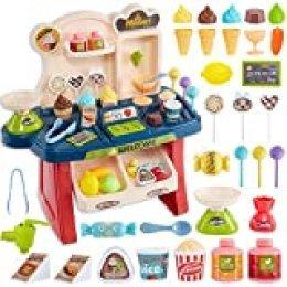 HERSITY Supermercado Heladeria de Juguetes 34 Piezas Tienda de Dulces y Helados Comida Plastico para Niñas Niños