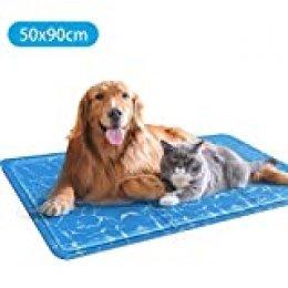 Nobleza – Alfombrilla refrescante para Mascotas Grandes. Auto refrigerante No tóxico. Ideal para para Perros, Gatos en Verano. 90 * 50 cm, Color Azul, L
