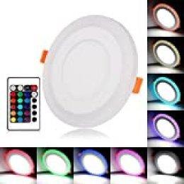 BLOOMWIN Doble Color LED empotrable de Techo Lámpara Downlights Redondo 3 Modos de iluminación 18W Blanco y RGB