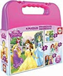 Educa Borrás - Maleta con Puzzles progresivos de Princesas Disney, 12-16-20-25 piezas (16508)