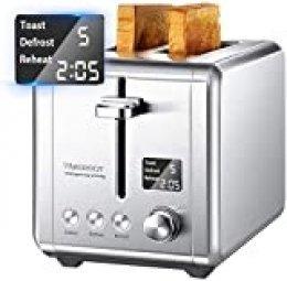 Tostadora 2 rebanadas con pantalla LCD, 9 ajustes de cocción, tostadora de acero inoxidable con ranura extra grande, anula/descongela/calor y recogemigas extraíbles, 920 W