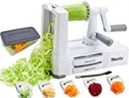 Espiralizador de verduras con 5 cuchillas,Sboly spiralizer vegetal con contenedor, Espaguetis de Calabacin, Cortador Espiral Manual, Para triturar, Tallarines,Cintas o Fideos