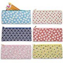 Lápiz Bags- Set de 6lápices bolsa organizadores para hogar y oficina, ideal para estudiantes, bolsa de cosméticos de viaje para mujer, varios diseños de colores, 9x 4x 0.25Inches