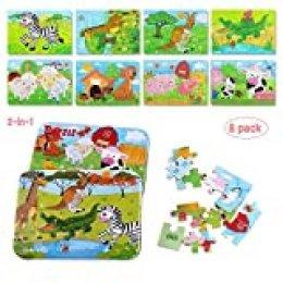 BBLIKE Puzzles de Madera, Puzzles Infantiles de Juguetes educativos Set 8-en-2 Caja 112pcs Niños cumpleaños para niños Niñas