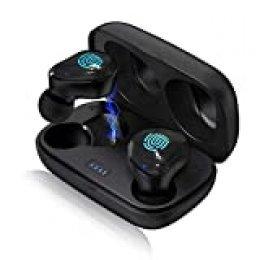 Arbily Auriculares Bluetooth Inalámbricos, Bluetooth5.0 Hi-Fi Sonido Estéreo Auriculares Deportivos Impermeables In-Ear con Mini Caja de Carga, Control Táctil, Mic Incorporado 18H Duración