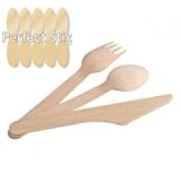 Kit-200 ct de cubiertos desechables Perfect Stix, de madera, 100 Pieces, 100
