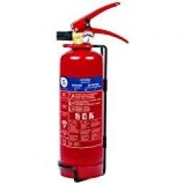 Smartwares FEX-15112 Extintor de Polvo seco, capacidad 1 kg, resistencia al fuego ABC (8A, 34B, C), incluye soporte para pared, certificado BSI