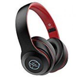 BH10 - Auriculares con cancelación de ruido, Bluetooth BT 5.0, 121 dB, Hi-Fi, estéreo, micrófono integrado, LED, plegable, Dual 40 mm, controlador HD, compatible con iOS, Android, Windows, color negro y rojo