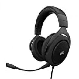 Corsair HS50 Stereo - Auriculares gaming con micrófono desmontable (para PC/PS4/Xbox/Switch/móvil), Negro